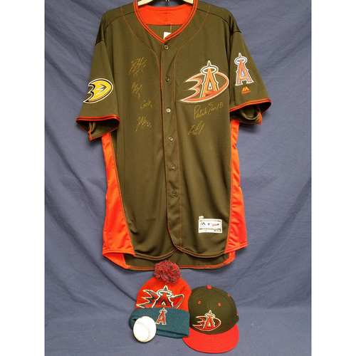 Photo of Anaheim Ducks Los Angeles Angels Charity Auction: Duck Signed Batting Practice Jersey, Game-Used Ben Revere Batting Practice Cap, Signed Ball and Ducks Angels Beanie
