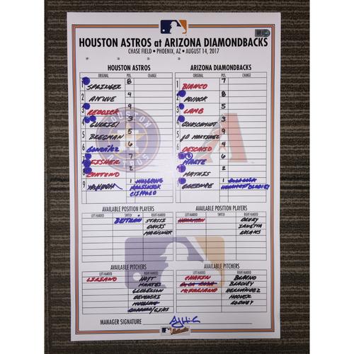 Photo of Game-Used Lineup Card: Astros at Diamondbacks (08/14/17)