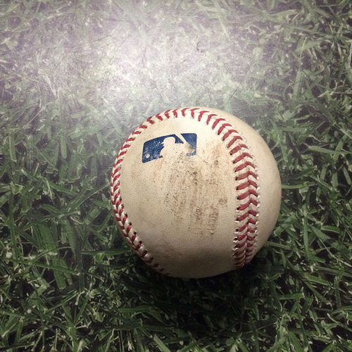 Photo of Game-Used Baseball 05/11/17 BOS@MIL - Jimmy Nelson to Andrew Benintendi: Foul Ball