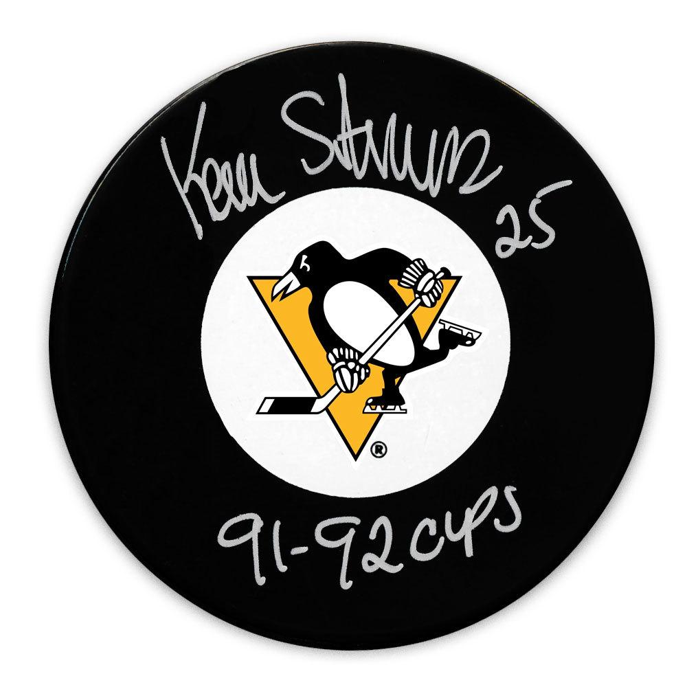 Kevin Stevens  Pittsburgh Penguins 1991 & 1992 Cups Autographed Puck