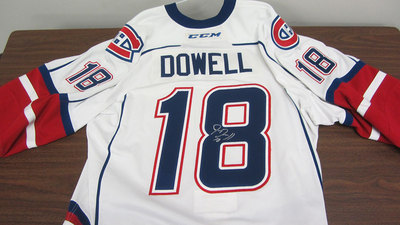 AHL WHITE GAME ISSUED JAKE DOWELL JERSEY SIGNED