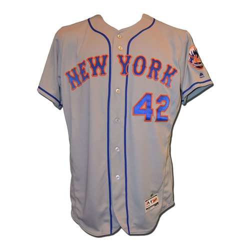 Photo of Jerry Blevins #39 - Game Used Jackie Robinson Jersey - Blevins Goes 0.1 IP, 1 Strikeout - Mets vs. Marlins - 4/15/17