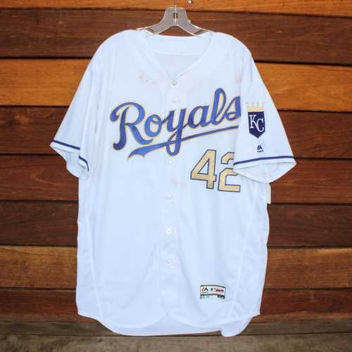 Photo of Mike Moustakas Homerun #42 Jersey (4/15/17) (Size 50)