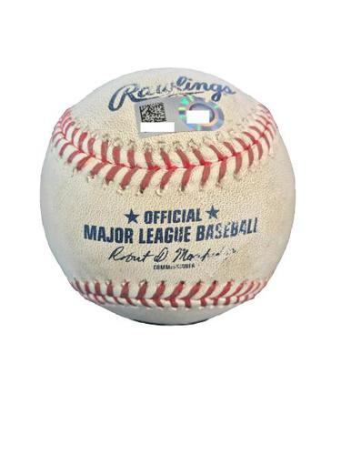 Photo of Game-Used Baseball from Pirates vs. Marlins on 6/10/17 - Williams to Ozuna - Double, Yelich and Suzuki Score