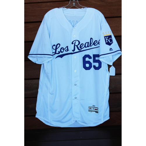Photo of Game-Used Jake Junis Los Reales Jersey (Size 48 - TOR at KC - 6/24/17)