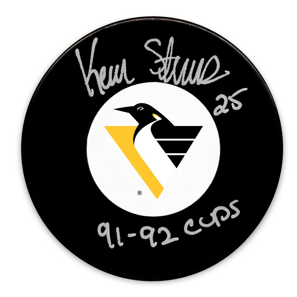 Kevin Stevens Pittsburgh Penguins 1991 & 1992 Cups RETRO Autographed Puck