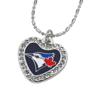 Toronto Blue Jays Heart Rhinestone Necklace by Aminco