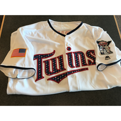 Photo of 2017 Game-Used July 4th Home Jersey - Buddy Boshers  - Size 48