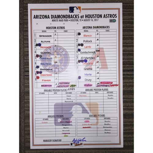 Photo of Game-Used Lineup Card: Astros vs Diamondbacks (08/16/17)