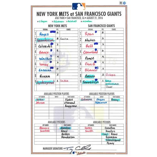 Photo of Game Used Lineup Card - Syndergaard Earns 11th Win; Goes 8 IP, 2 Hits Allowed, 6 K's; Mets Win 2-0 - Mets vs. Giants - 8/21/16