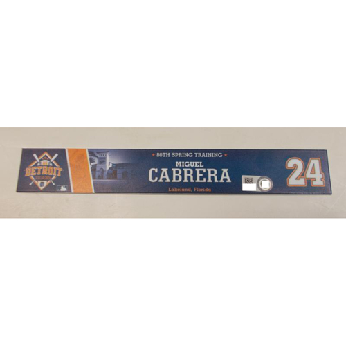 Photo of Game-Used 2016 Spring Training Miguel Cabrera Locker Name Plate