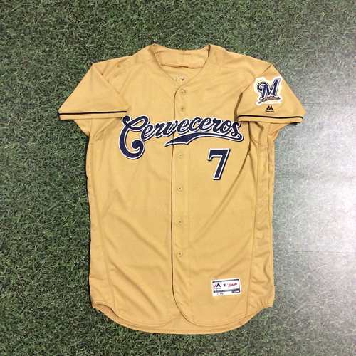 Photo of Eric Thames 2017 Game-Used Cerveceros Jersey - 1-4, BB, R