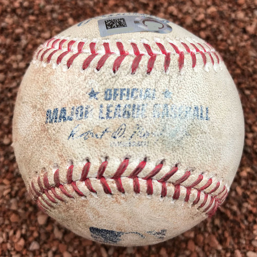 Photo of San Francisco Giants - 2017 Game-Used Baseball - Brandon Crawford Single (July 25th, also Hunter Pence foul ball)