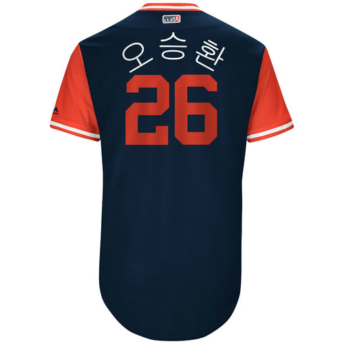 """Photo of Seung-Hwan """"오승환"""" Oh St. Louis Cardinals Game-Used Players Weekend Jersey."""