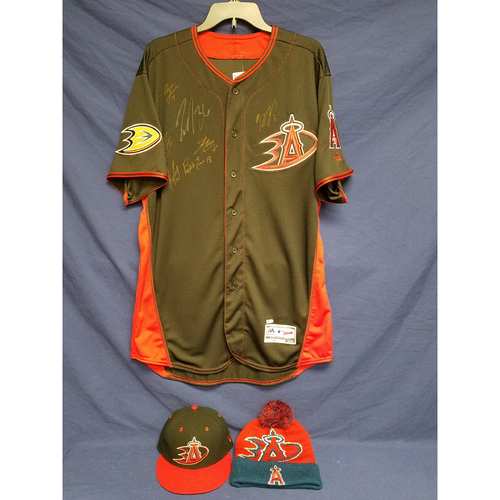 Photo of Anaheim Ducks Los Angeles Angels Charity Auction: Duck Signed Batting Practice Jersey, Game-Used Andrew Heaney Batting Practice Cap and Ducks Angels Beanie