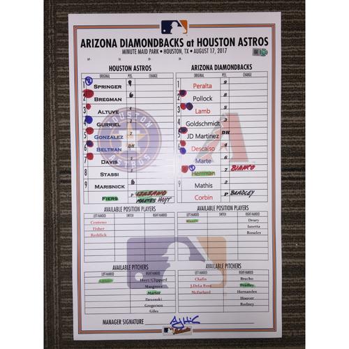 Photo of Game-Used Lineup Card: Astros vs Diamondbacks (08/17/17)