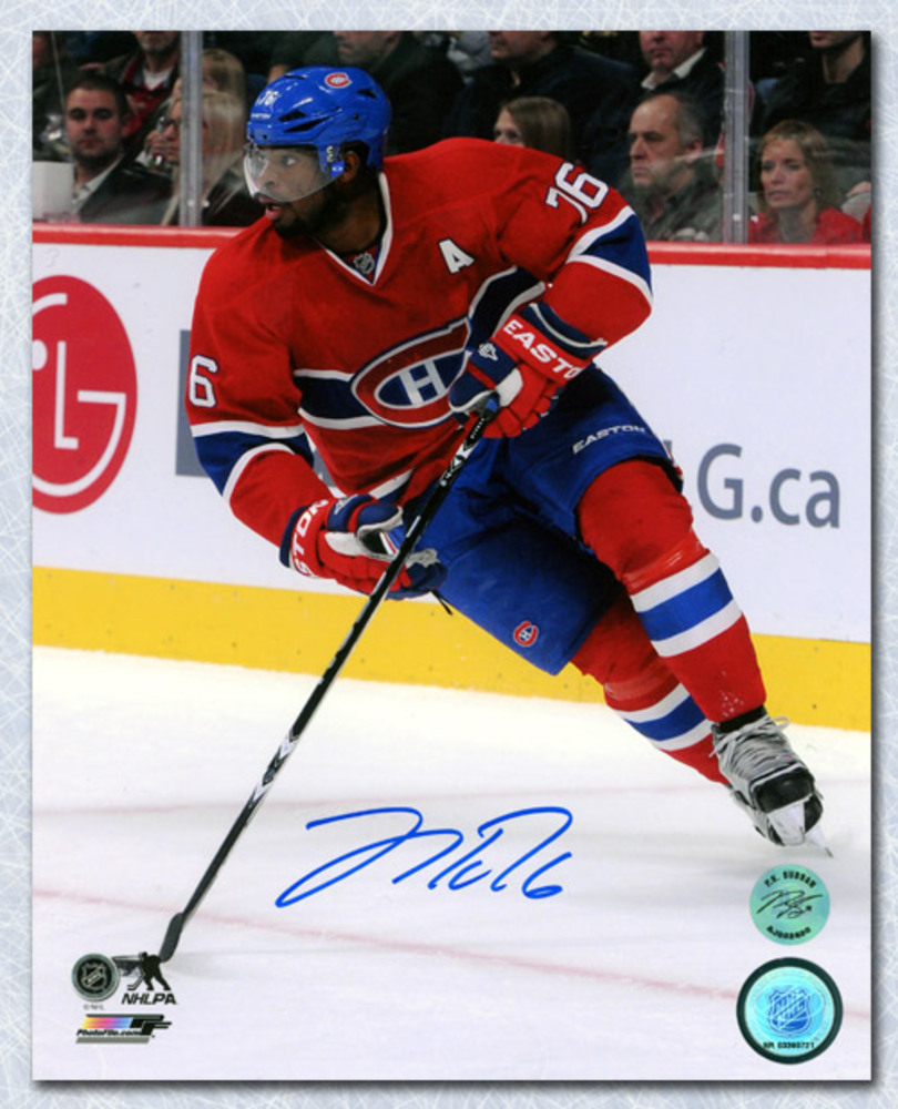 P.K. Subban Montreal Canadiens Autographed Hockey Playmaker 8x10 Photo *Nashville Predators*