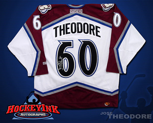 JOSE THEODORE Signed White Colorado Avalanche CCM Jersey