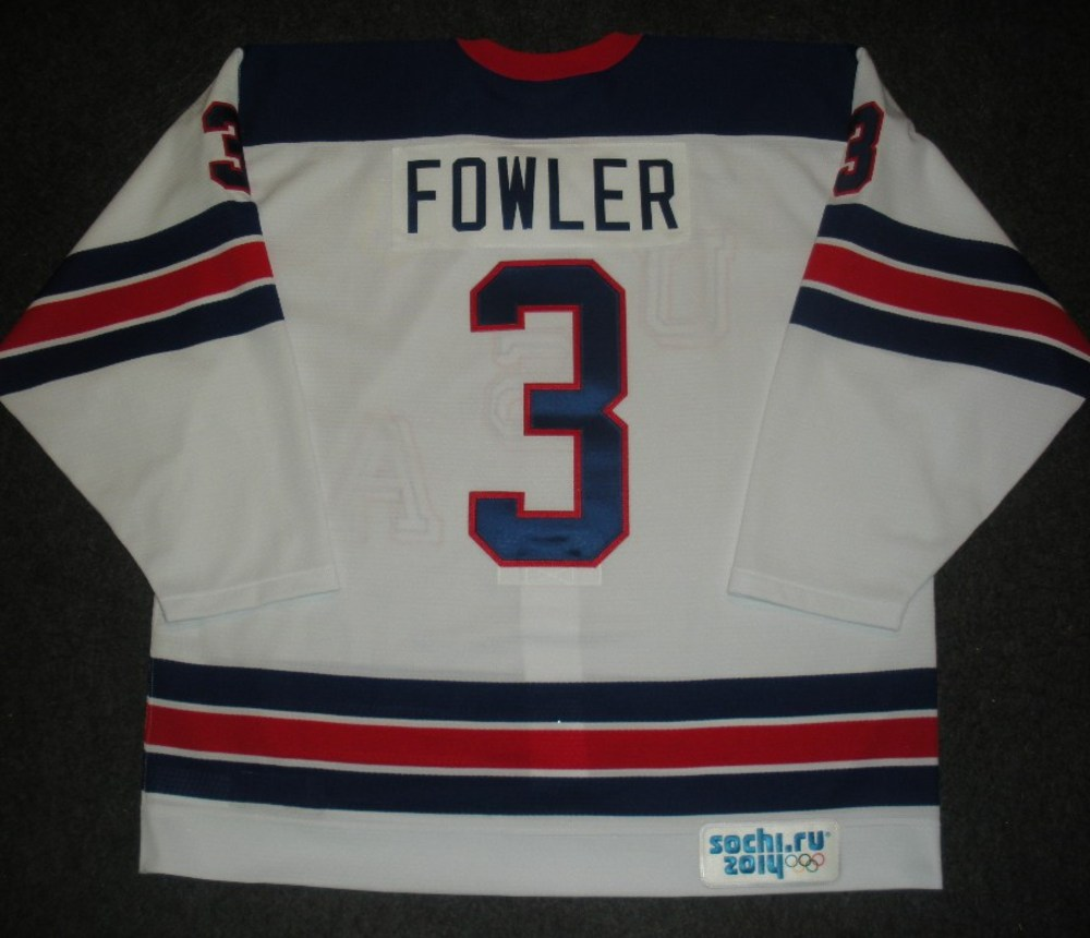 Cam Fowler - Sochi 2014 - Winter Olympic Games - Team USA Throwback Game-Worn Jersey - Worn in Warmups and 1st Period vs. Slovenia, 2/16/14