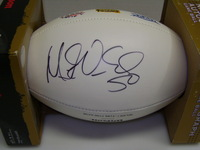 PATRIOTS - MIKE VRABEL SIGNED PANEL BALL W/ 3 TIME SUPER BOWL CHAMPIONS LOGO
