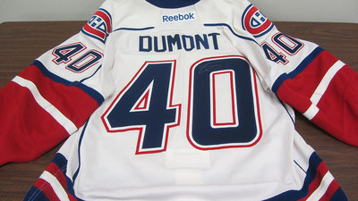 AHL WHITE GAME ISSUED GABRIEL DUMONT JERSEY SIGNED