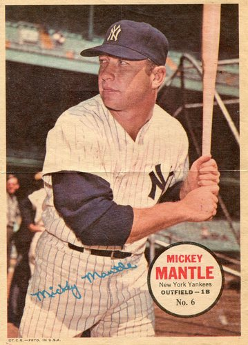 Photo of 1967 Topps Posters Inserts #6 Mickey Mantle -- Slight tear at crease