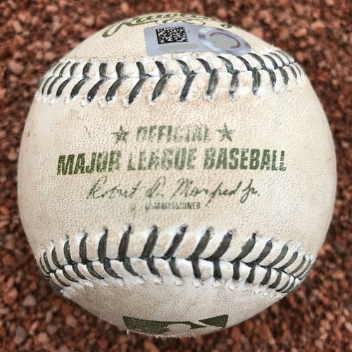 Photo of San Francisco Giants - 2017 Game-Used Baseball - Memorial Day Ball with Green Stitching