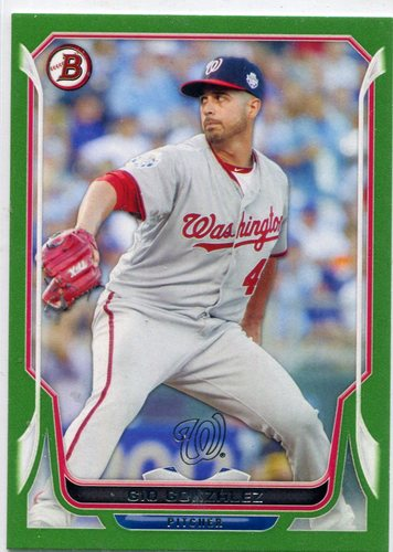 Photo of 2014 Bowman Green #141 Gio Gonzalez 079/150 -- Nationals post-season