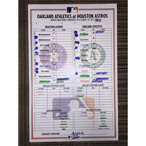 Photo of Game-Used Lineup Card: Astros vs Athletics (08/18/17)