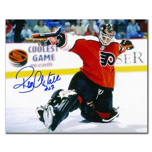 Ron Hextall Philadelphia Flyers BLACK PADS Autographed 8x10