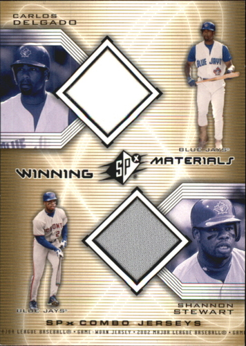 Photo of 2002 SPx Winning Materials 2-Player Jersey Combos #WMDS Carlos Delgado/Shannon Stewart