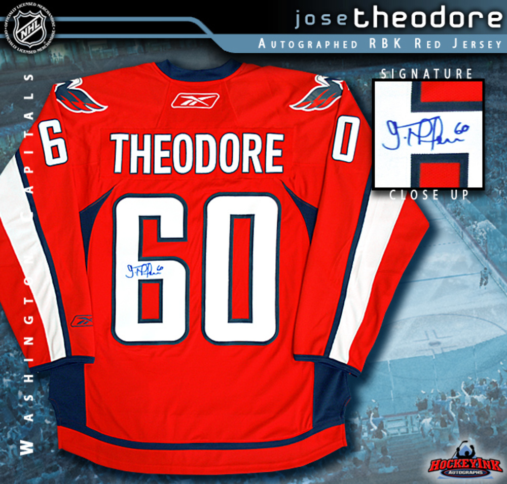 JOSE THEODORE Signed Washington Capitals Red RBK Premier Jersey