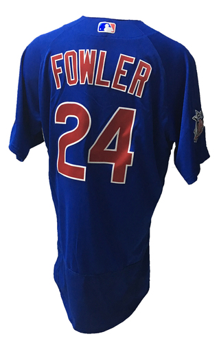 Photo of Dexter Fowler Game-Used Jersey -- Fowler 1 for 5 -- 2016 World Champion Season -- NLDS Game 3 -- Cubs vs Giants -- 10/10/16