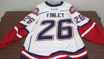 AHL WHITE GAME ISSUED JOE FINLEY JERSEY SIGNED (1 OF 2)