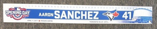 Photo of Authenticated Game Used 2017 Home Opener Locker Tag - #41 Aaron Sanchez