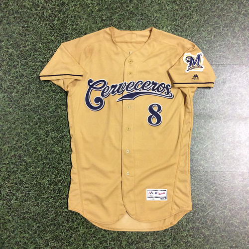 Photo of Ryan Braun 2017 Game-Used Cerveceros Jersey - 1-5, Double