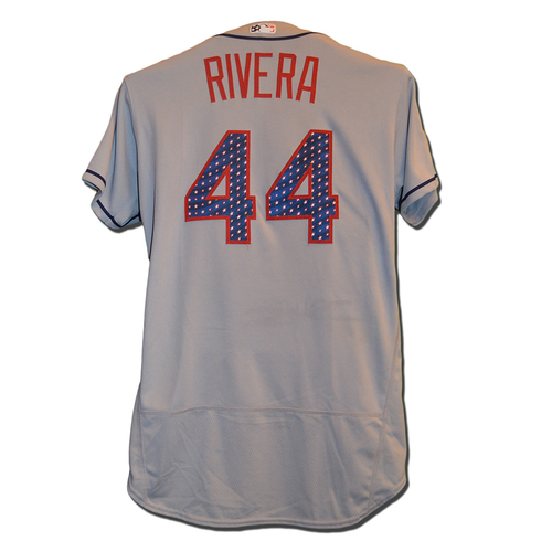 Photo of Rene Rivera #44 - Rivera Goes 1-3; Home Run, RBI - Game Used Road Grey 4th of July Jersey - Mets vs. Nationals - 7/4/17