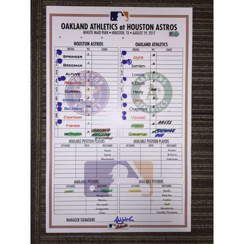 Photo of Game-Used Lineup Card: Astros vs Athletics (08/19/17)