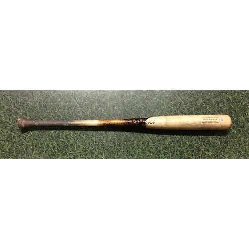 Photo of Jesus Aguilar 2017 Game-Used Cracked Bat