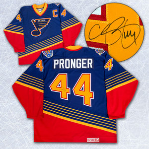Chris Pronger St. Louis Blues Autographed Diagonal Blue Retro CCM Hockey Jersey