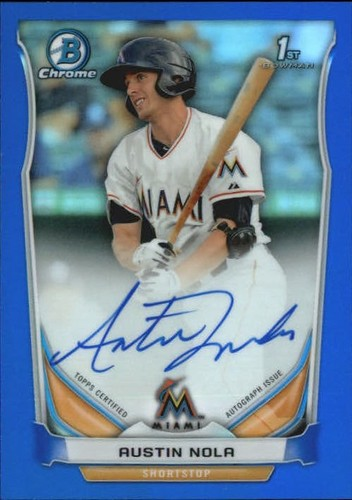 Photo of 2014 Bowman Chrome Prospect Autographs Blue Refractors #BCAPAN Austin Nola
