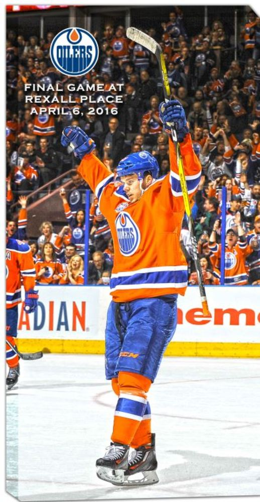 Connor McDavid - 14x28 Edmonton Oilers Final Game at Rexall Place Canvas
