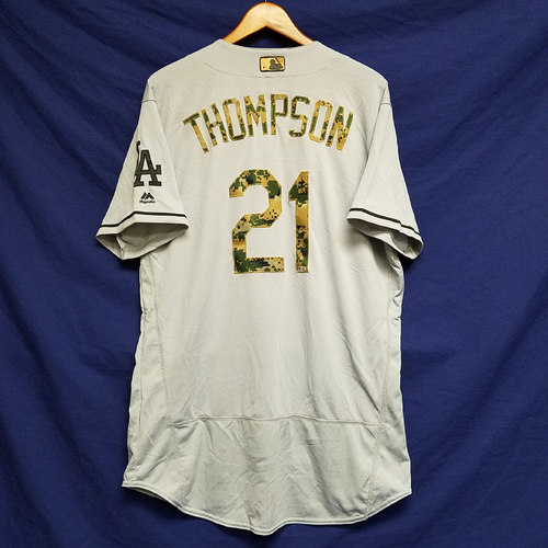 Photo of Trace Thompson 2016 Game-Used Road Memorial Day Jersey