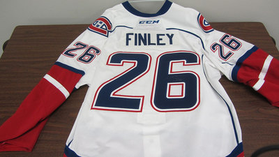 AHL WHITE GAME ISSUED JOE FINLEY JERSEY SIGNED (2 OF 2)