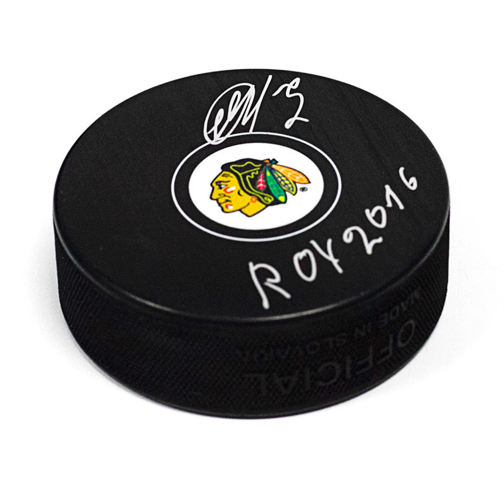 Artemi Panarin Chicago Blackhawks Autographed Hockey Puck with ROY 2016 Note *Columbus Blue Jackets*