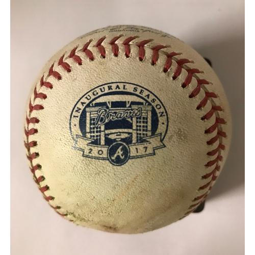 Photo of Yasiel Puig Game-Used Hit Double Baseball - August 2, 2017