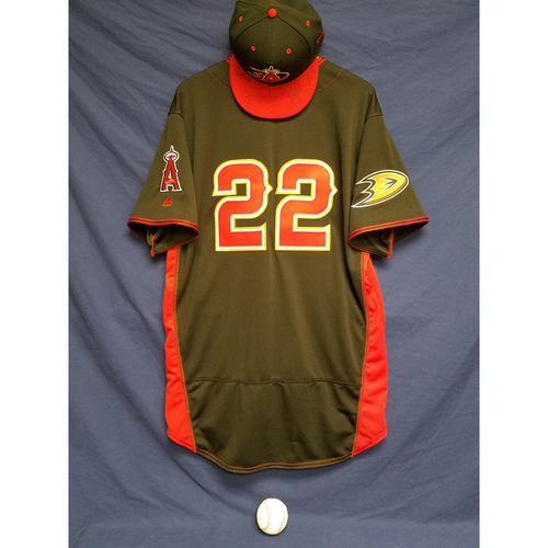 Photo of Anaheim Ducks Los Angeles Angels Charity Auction: Kaleb Cowart Game-Used Batting Practice Jersey, Ducks Signed Cap, and Signed Ball