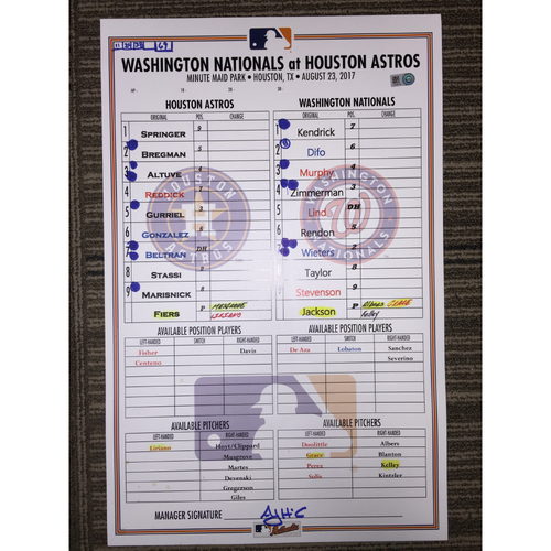 Photo of Game-Used Lineup Card: Asrtos vs Nationals (08/23/17)