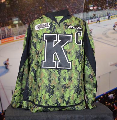 #37 Stephen Desrocher Game Issued (Worn) Kingston Frontenacs Camo Jersey