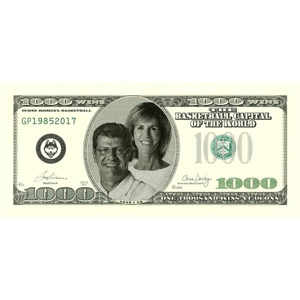 Geno Auriemma and Chris Dailey Signed Commemorative $1000 Bill (A)